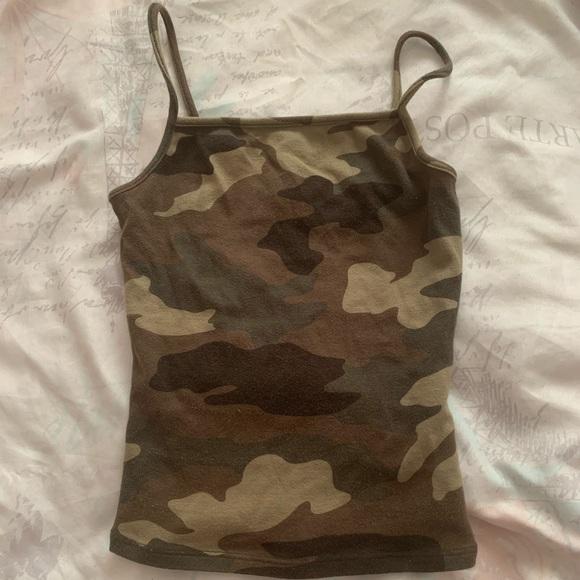 Camouflage spaghetti strap tank top